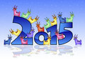 Happy New Year 2015 Card With Goats Stock Image - 46681851