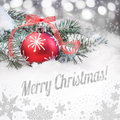 Red Christmas Bauble And A Caption Stock Photography - 46684812