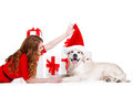 Maiden And Labrador Dog With Christmas Gifts Royalty Free Stock Photography - 46687417