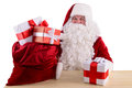 Happy Santa Claus With Giftboxes Stock Photography - 46693132