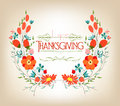 Floral Background Thanksgiving Greeting Card With Decorative Flowers Royalty Free Stock Image - 46704746