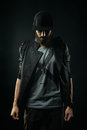 The Bearded Man In A Jacket Stands With His Head Bowed Stock Photos - 46706393