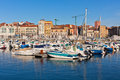 View On Old Port Of Gijon And Yachts, Asturias, Northern Spain Royalty Free Stock Photography - 46712577