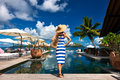 Woman Sailor Striped In Dress Near Poolside Royalty Free Stock Photo - 46712865