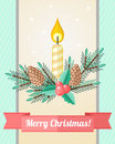 Christmas Card With Candle And Fir Twigs Stock Images - 46733594
