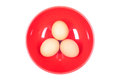 Three Brown Eggs In Red Plate On White Isolated Background Top V Stock Photo - 46736560