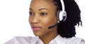 African Businesswoman Talking With Headset Royalty Free Stock Images - 46737409