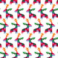 Christmas Seamless Pattern With Colorful Deers Royalty Free Stock Photography - 46750157