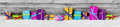 Panorama View Of Colored Gift Boxes On Snow Royalty Free Stock Images - 46752329