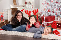 Funny Family Portrait At Christmas Stock Images - 46756434