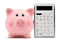 Piggy Bank With Calculator Accounting Concept And Savings Stock Photos - 46756683