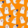 Ghost Pattern On Orange Background Royalty Free Stock Image - 46758486