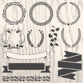 Set Of Retro Vector Graphic Elements For Design On Grunge Wooden Royalty Free Stock Image - 46764136