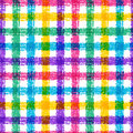 Seamless Pencil Sketch Plaid Pattern With Colorful Stripes. Vect Royalty Free Stock Photos - 46764178