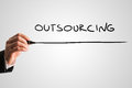 Man Writing The Word Outsourcing Royalty Free Stock Images - 46764229