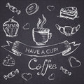 Sketch Seamless Pattern With Coffee And Sweets. Vector Hand-draw Royalty Free Stock Photos - 46764238