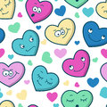 Colorful Seamless Pattern Of Cartoon Heart Emotions. Valentine S Royalty Free Stock Photography - 46764377