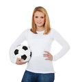 Attractive Girl Holding Soccer Ball Stock Photography - 46796392