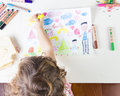 Little Girl Painting A Sun In A Kids Drawing Of Multi-racial Fam Stock Photo - 46796400