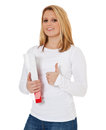 Attractive Student Showing Thumbs Up Royalty Free Stock Photography - 46796547