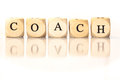 Coach Spelled Word, Dice Letters With Reflection Stock Photo - 46802950