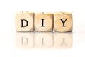 DIY Spelled Word, Dice Letters With Reflection Royalty Free Stock Photo - 46803035