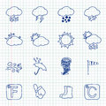 Hand Drawn Weather Icons Royalty Free Stock Images - 46807149