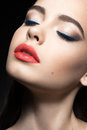 Beautiful Woman With Evening Make-up, Red Lips. Beauty Face. Royalty Free Stock Photos - 46809098