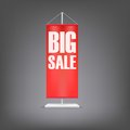 Big Sale. Vertical Red Flag At The Pillar. Royalty Free Stock Photos - 46827918