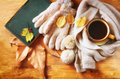 Top View Of Cup Of Black Coffee With Autumn Leaves, A Warm Scarf And Old Book On Wooden Background. Filreted Image. Royalty Free Stock Photography - 46828567
