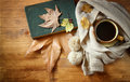 Top View Of Cup Of Black Coffee With Autumn Leaves, A Warm Scarf And Old Book On Wooden Background. Filreted Image Royalty Free Stock Images - 46829009
