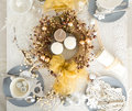 Christmas Table Setting With Traditional Holiday Decorations Stock Photography - 46838242
