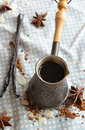 Vanilla Coffee In The Traditional Cezve With A   Vanilla Pod. Royalty Free Stock Photo - 46842585