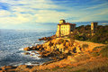 Boccale Castle Landmark On Cliff Rock And Sea On Warm Sunset. Tu Royalty Free Stock Images - 46848219