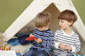 Kids Arts And Crafts Activity, Playing In Teepee Tent Royalty Free Stock Photo - 46852935