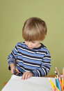 Kids Arts And Crafts Activity Child Learning To Cut With Scissor Stock Images - 46852974