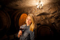 Beautiful Young Blond Woman Tasting Red Wine In A Wine Cellar Stock Photos - 46860093