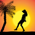 Vector Silhouette Of A Woman. Royalty Free Stock Photos - 46866548