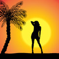 Vector Silhouette Of A Woman. Royalty Free Stock Photos - 46866608