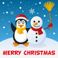 Christmas Penguin And Snowman Stock Images - 46887364