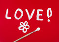 Love Word With Flower Painted Over Red Royalty Free Stock Photo - 46900355