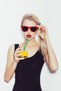 Pretty Smiling Blonde Woman In Sunglasses With Cocktail Royalty Free Stock Photos - 46911288