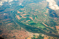View From Airplane On Ground With Fields, Forest And Rivers Stock Images - 46917114