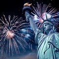 Statue Of Liberty At Night With Fireworks, New York Royalty Free Stock Photos - 46917188