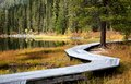 Wooden Boardwalk Along The Lake In The Mountains Royalty Free Stock Photos - 46918198