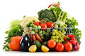 Shopping Basket With Assorted Raw Organic Vegetables Over White Royalty Free Stock Photo - 46936795