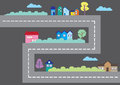 Colorful Houses Along Road Cartoon City Map Vector Illustration Royalty Free Stock Image - 46938976