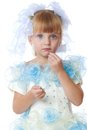 Charming Girl In White And Blue Dress. Stock Image - 46942321