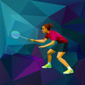 Female Lady Badminton Player Ready For Game Stock Images - 46958664
