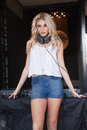 Sexy DJ Girl Standing In The Front Of The Decks Stock Image - 46976831